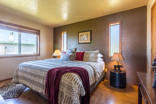 Comfortable master suite with a private bath is a wonderful retreat.