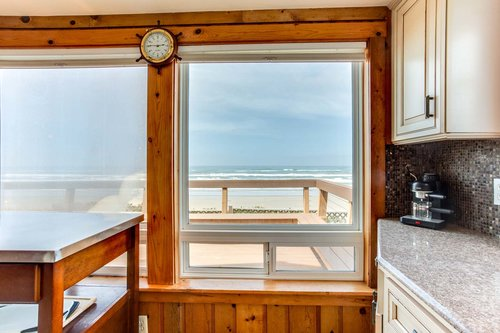 Ocean views from the sunny kitchen.