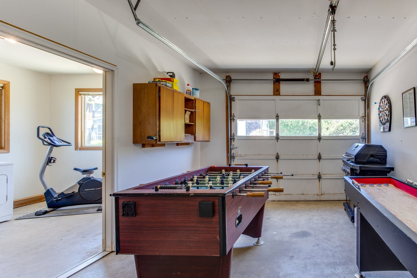 Get a workout in, or work on your Foosball skills in the garage.