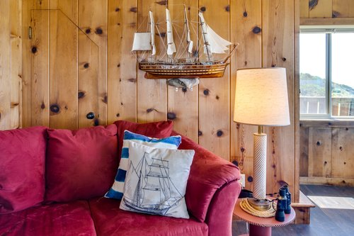 Colorful decor and nautical whimsy.