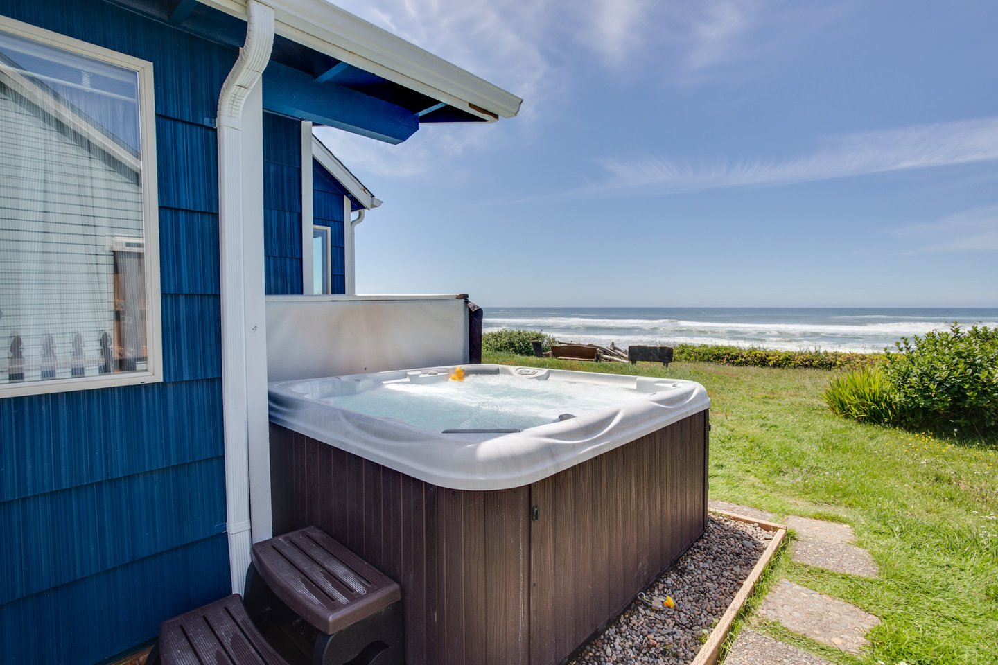 Relax in the hot tub with an amazing view.