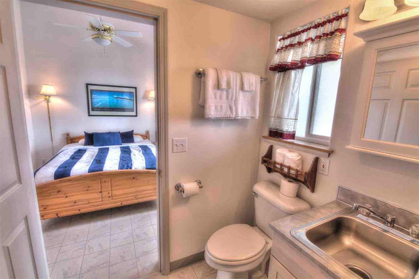 A convenient and clean bath attached to one of the bedrooms.