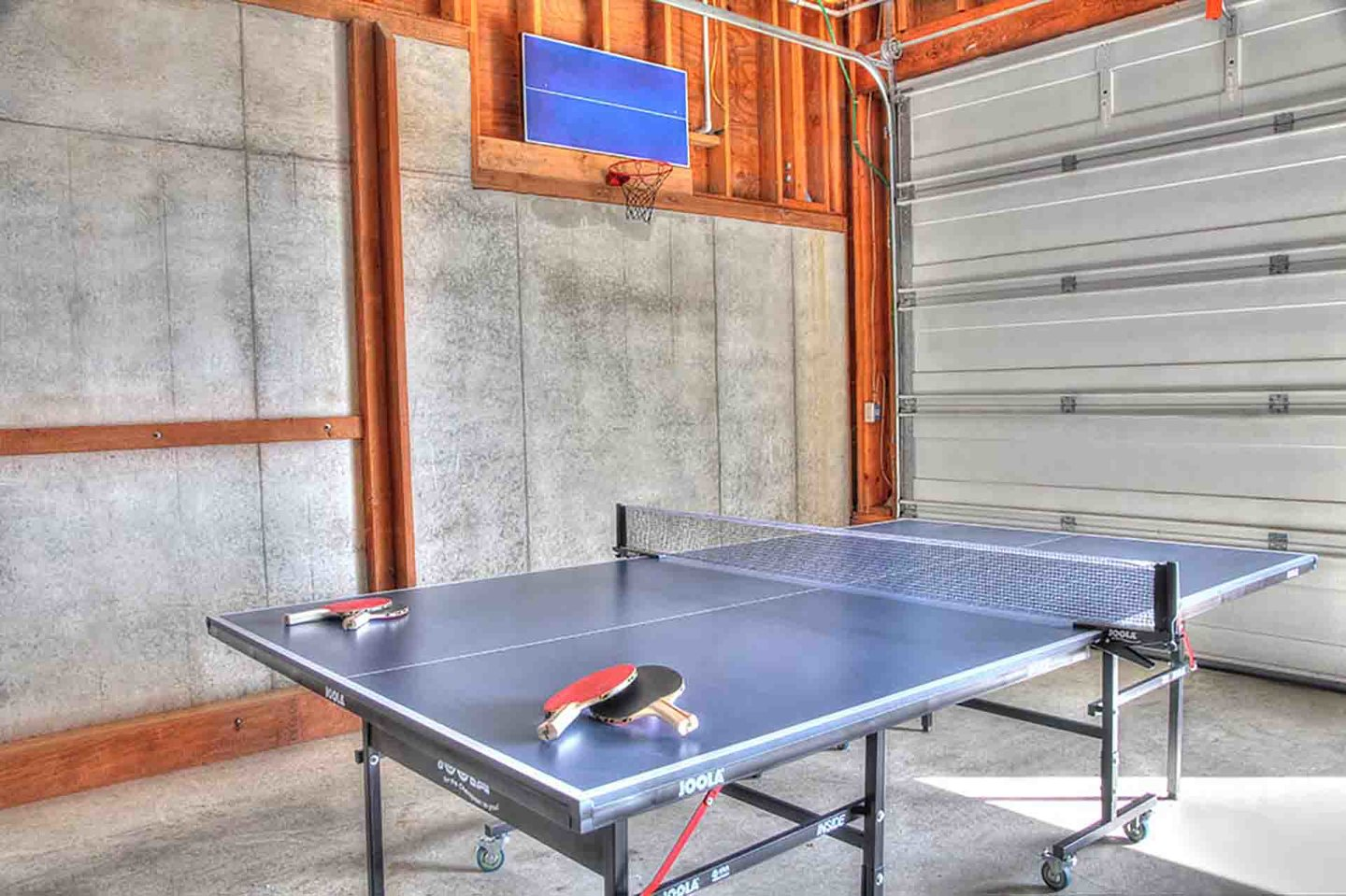 Ping pong game in the garage!