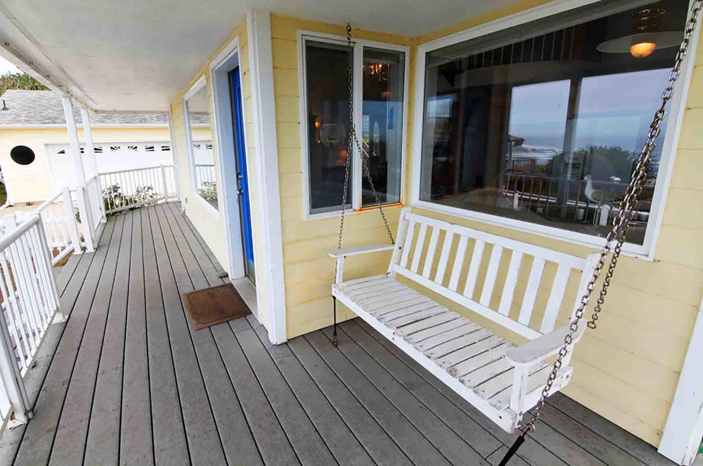 Relax on the porch swing with the sights and sounds of the ocean.