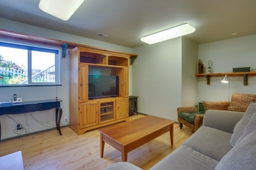Watch a movie or late night television in the apartment.