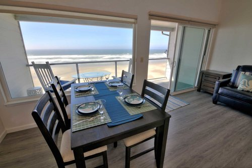 Casual dining experience in an inviting ocean view setting.