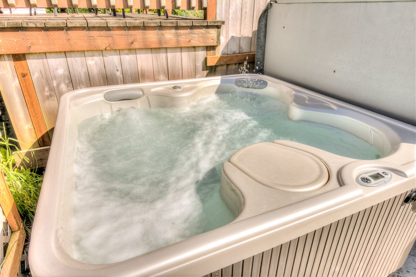 Relax in the hot tub after a day of beach combing.