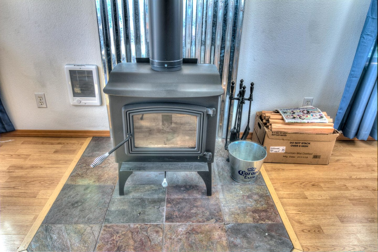 Enjoy the woodburning stove on cool evenings.