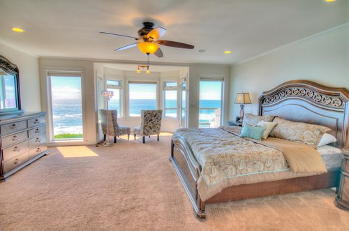 Second Floor Master Bedroom with sweeping views of the ocean.