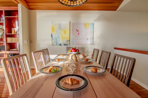 The dining room table is perfect for up to eight guests.
