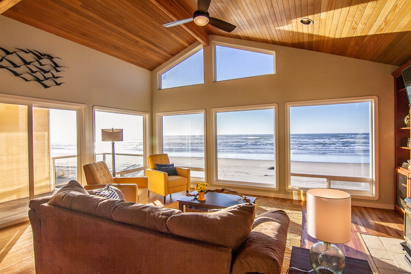 Vast ocean views can be enjoyed from anywhere in the upstairs great room.