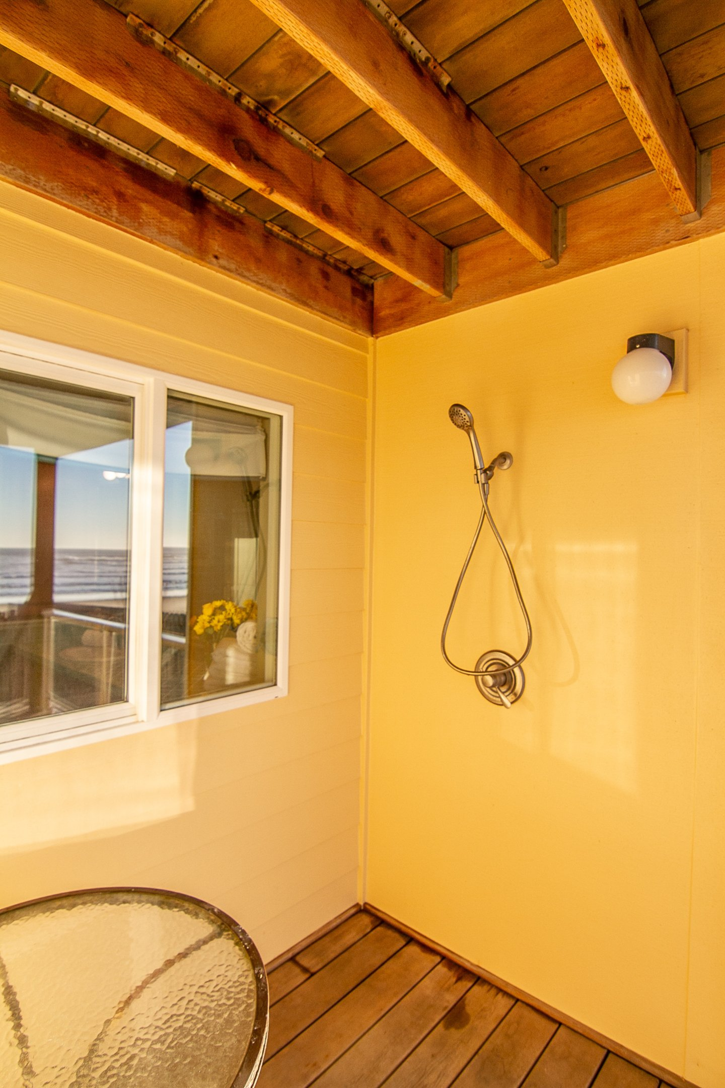 Rinse off from your walk on the beach with the outdoor shower.