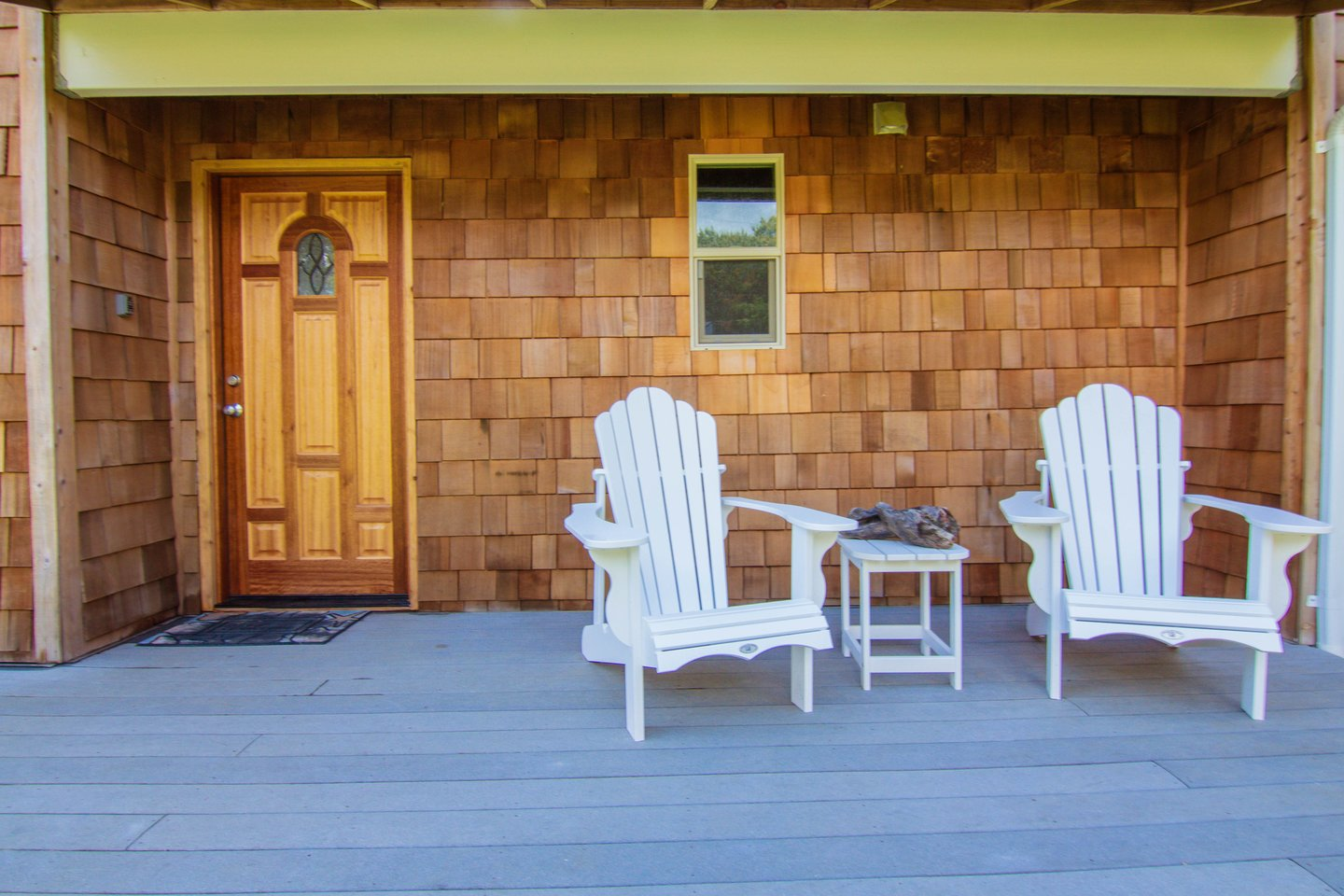 Stay Relaxed outside on the front deck.