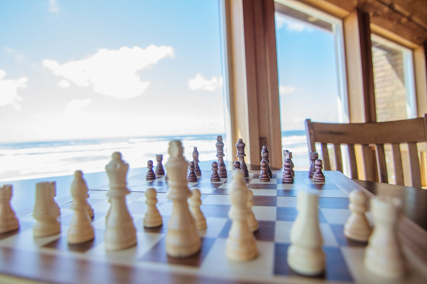 Enjoy chess with an ocean view.