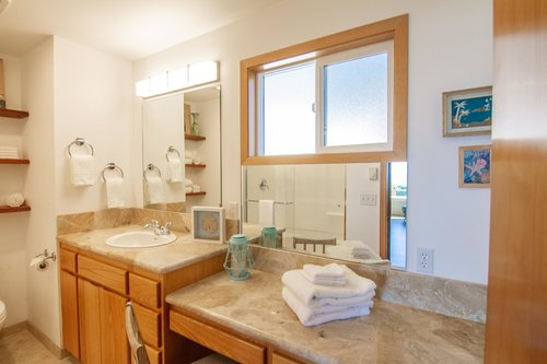 Lots of countertop space to get ready in the main floor bathroom.