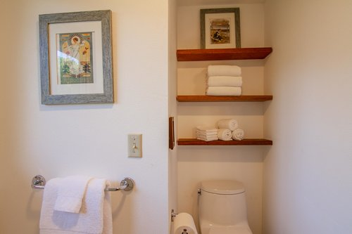The upstairs bath is stocked with hotel-grade linens for you.