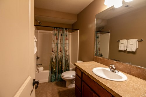 A full bathroom upstairs for two bedrooms to share.