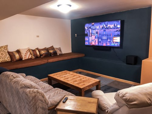 The 'hidden' media room is an extra bonus! Pick your favorite movie or sporting event!