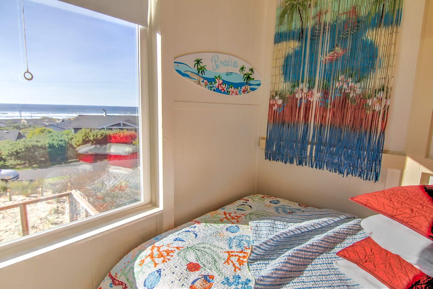 Dream of surfing while sleeping in this full size loft bed.