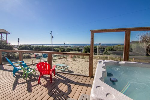 Soak in ocean view hot tub right on the front deck!