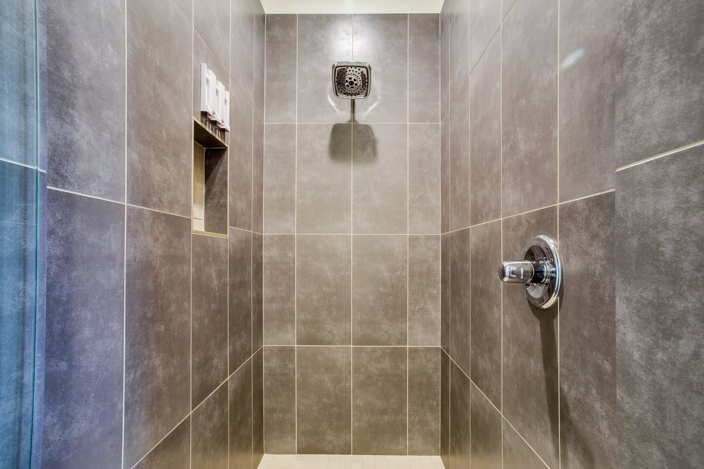 Beautiful tiled walk in shower.