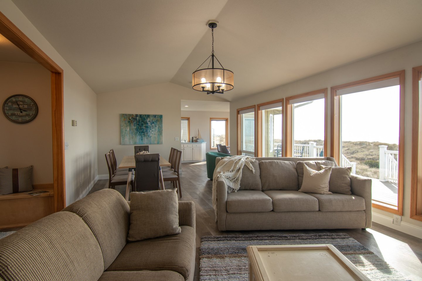 Relax in the living room after exploring miles of sandy beach right outside your door.
