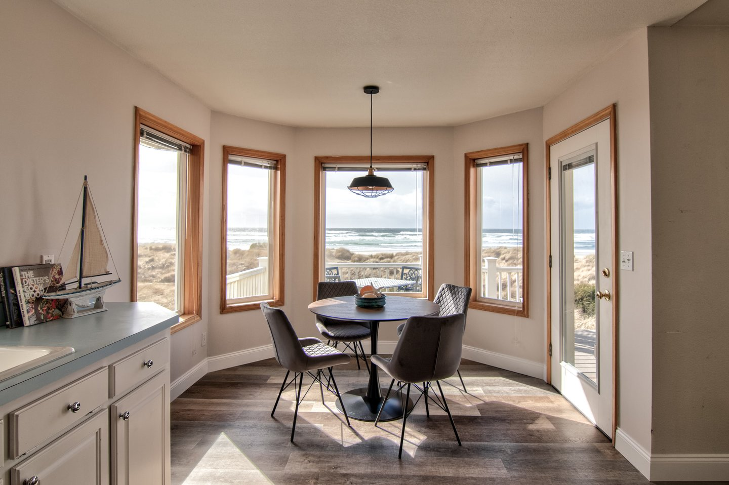 Enjoy coffee in the sun-filled breakfast nook.