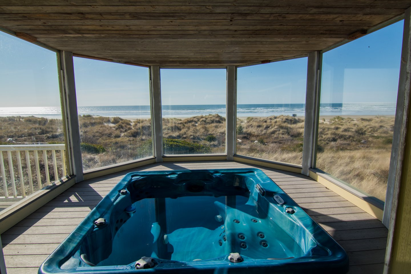 The enclosed hot tub is the perfect way to end the day.