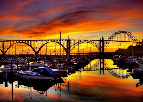 The beautiful Yaquina Bay Bridge at sunset.
